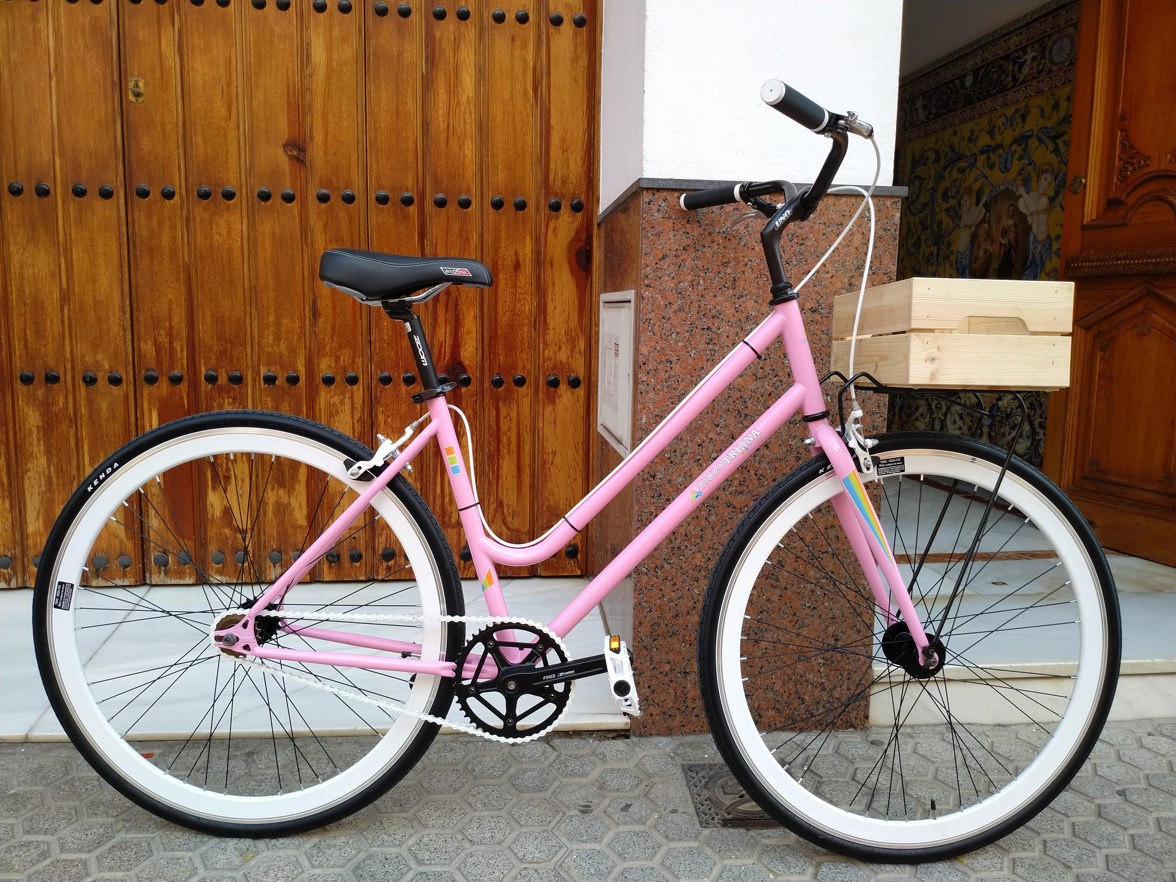Encargo Single Speed Paseo Rosa y blanca con Caja madera