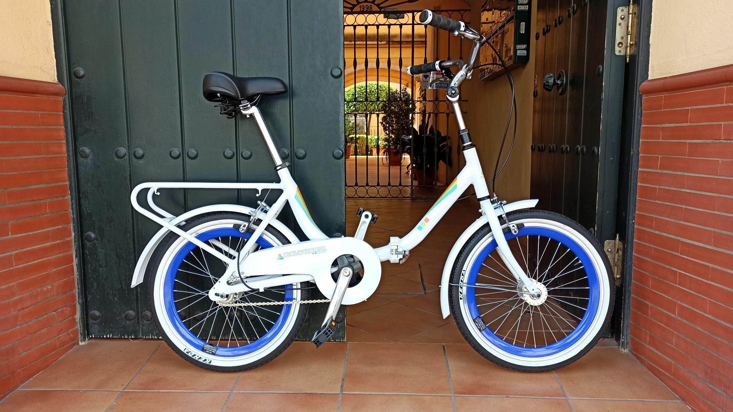 Plegable Single-speed blanca y azul aluminio reforzada