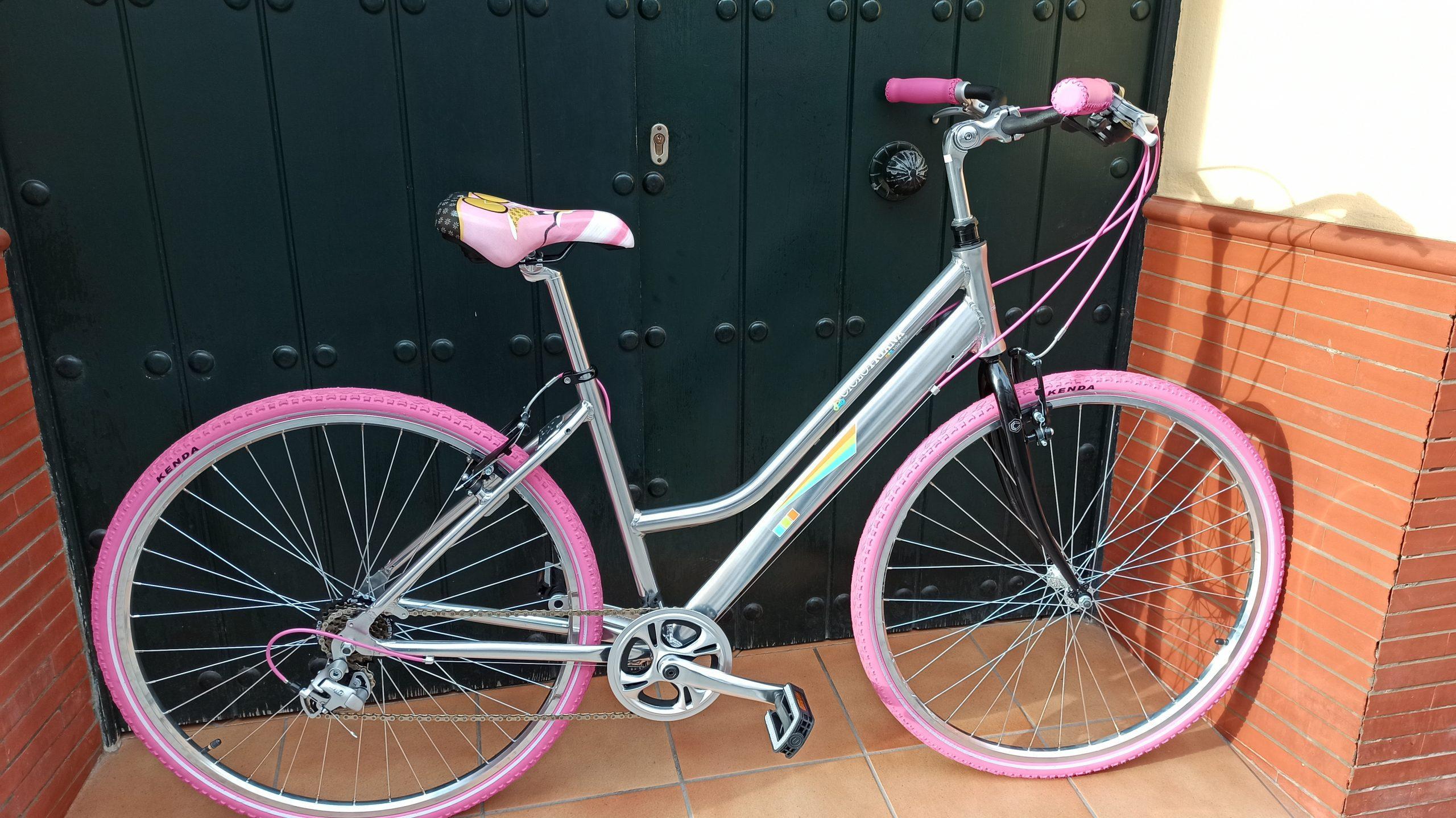 Montaje híbrida-paseo aluminio rosa