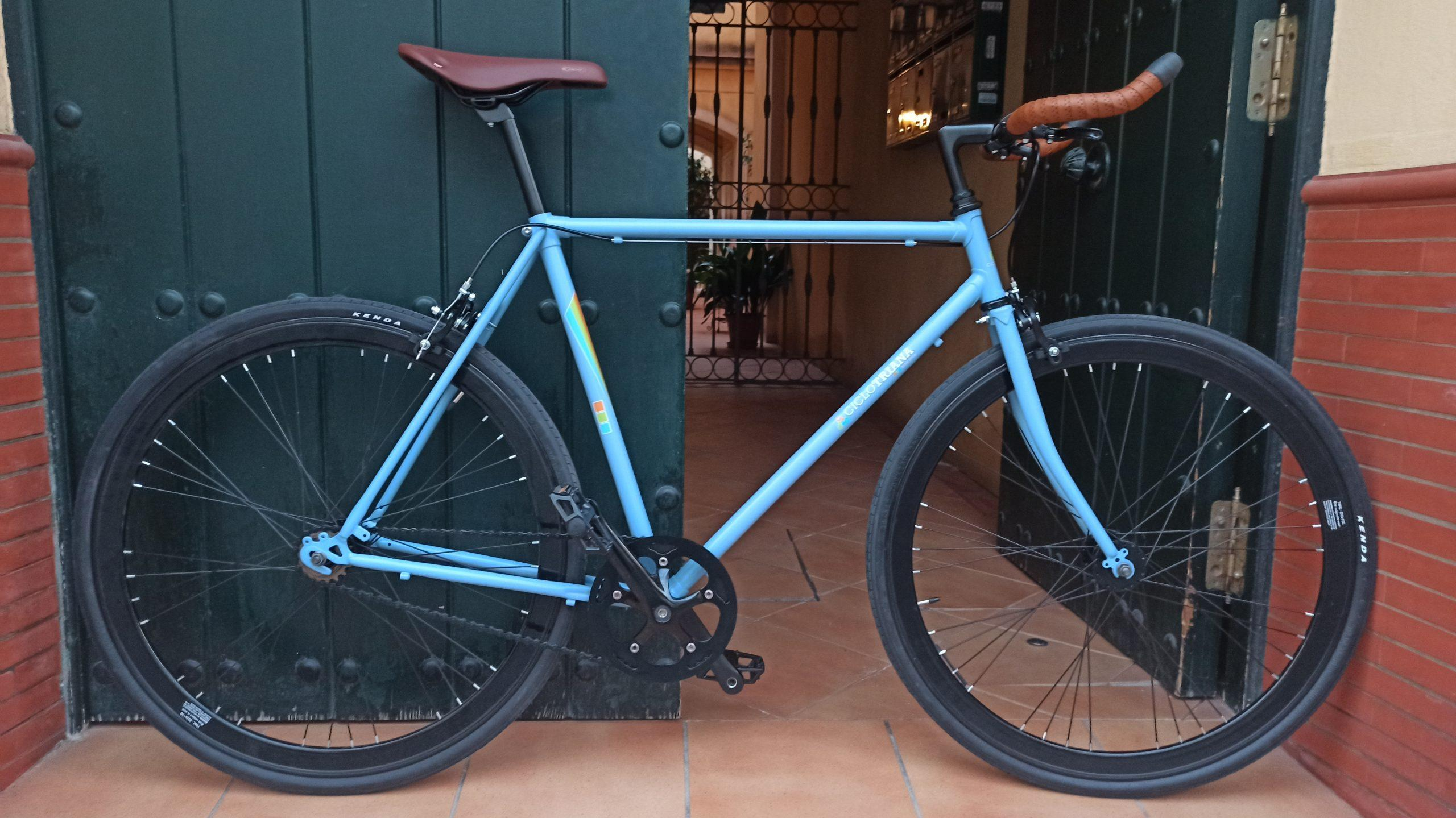 Montaje Single Speed azul mate y negro